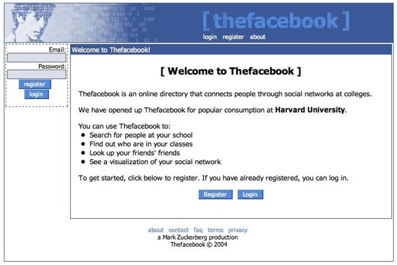 pierwszy landing page facebooka