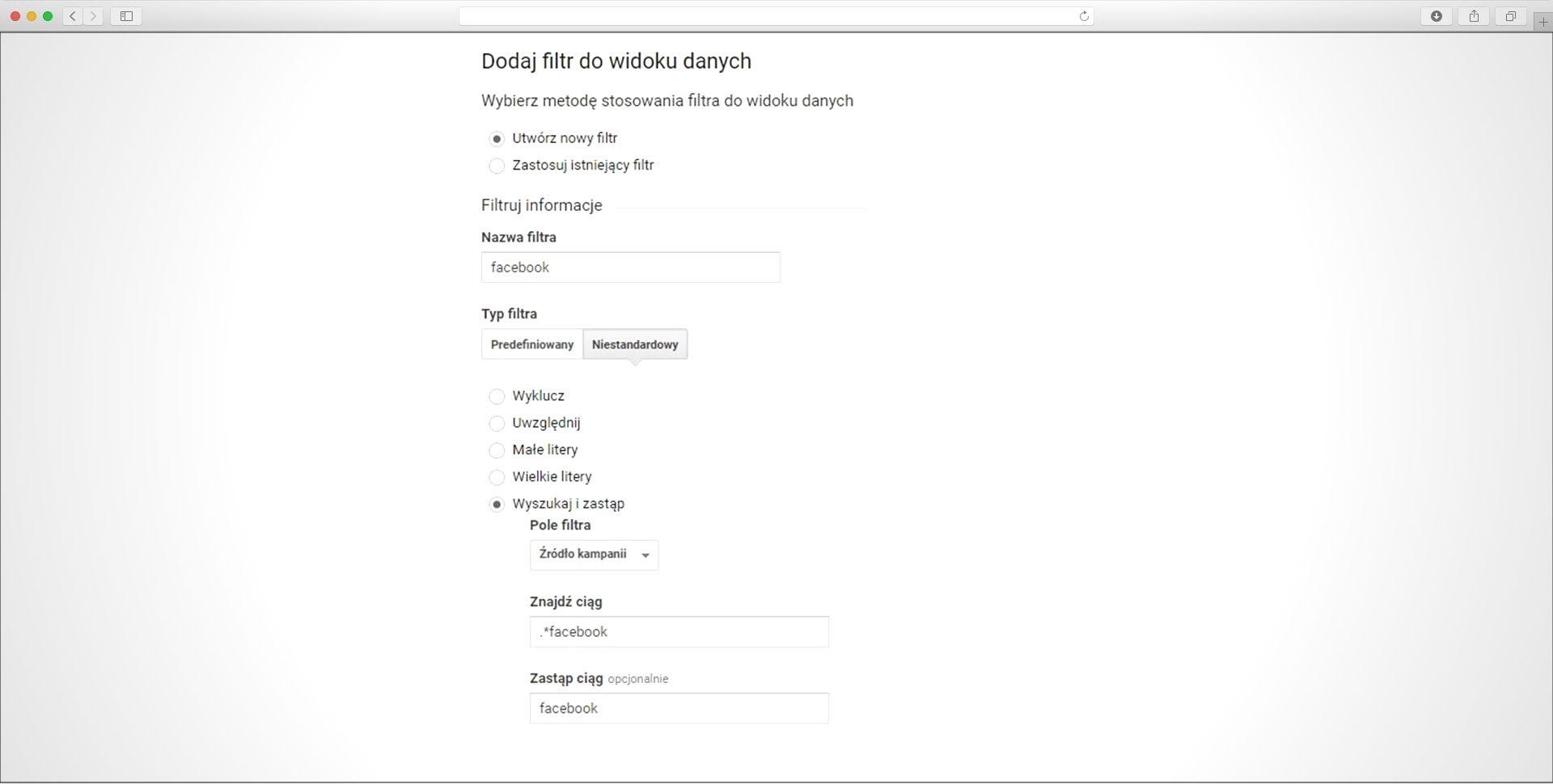 filtry w widoku Google Analytics