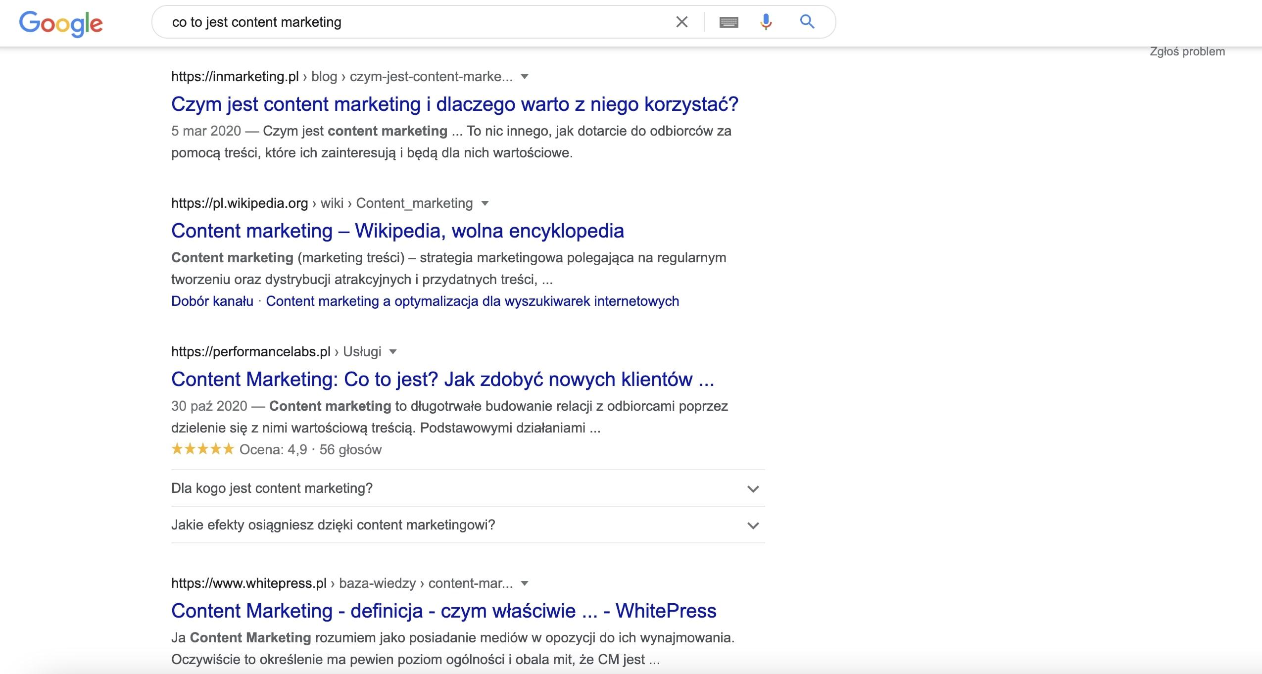wynik wyszukiwania w Google czym jest content marketing