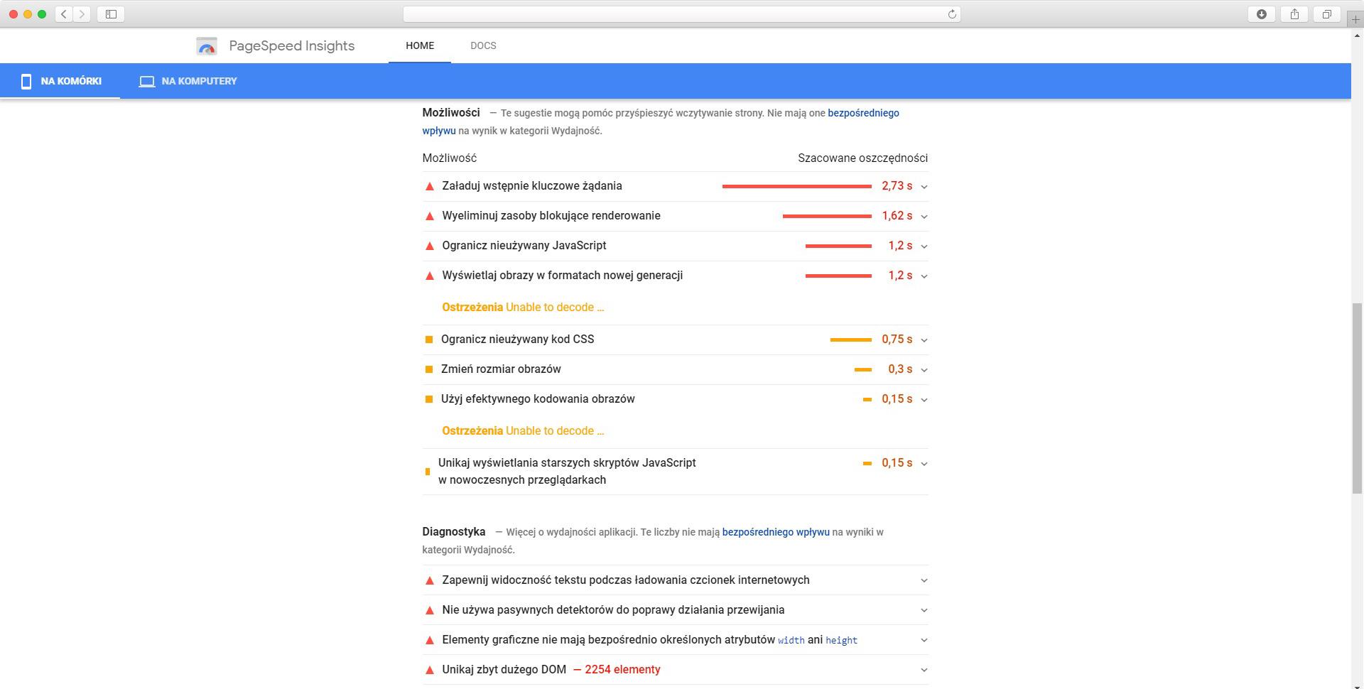 wyniki PageSpeed