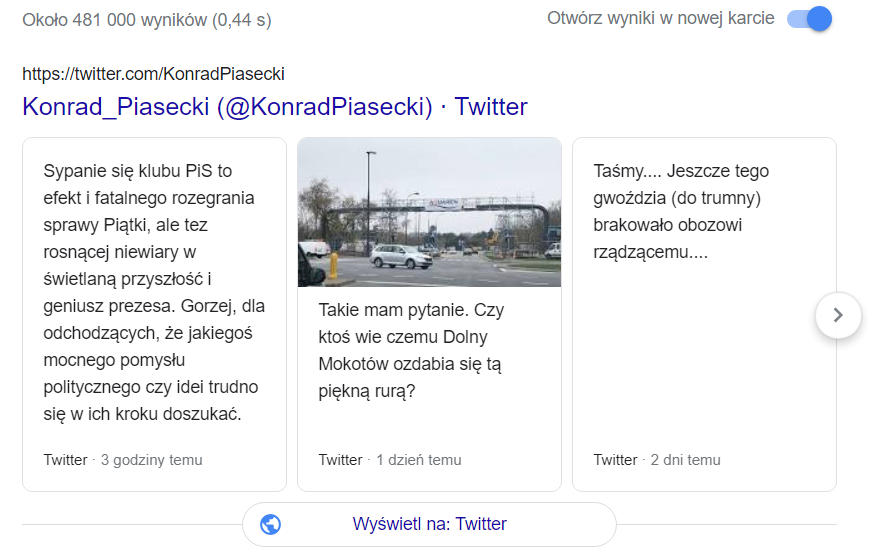 twitter snippet w google