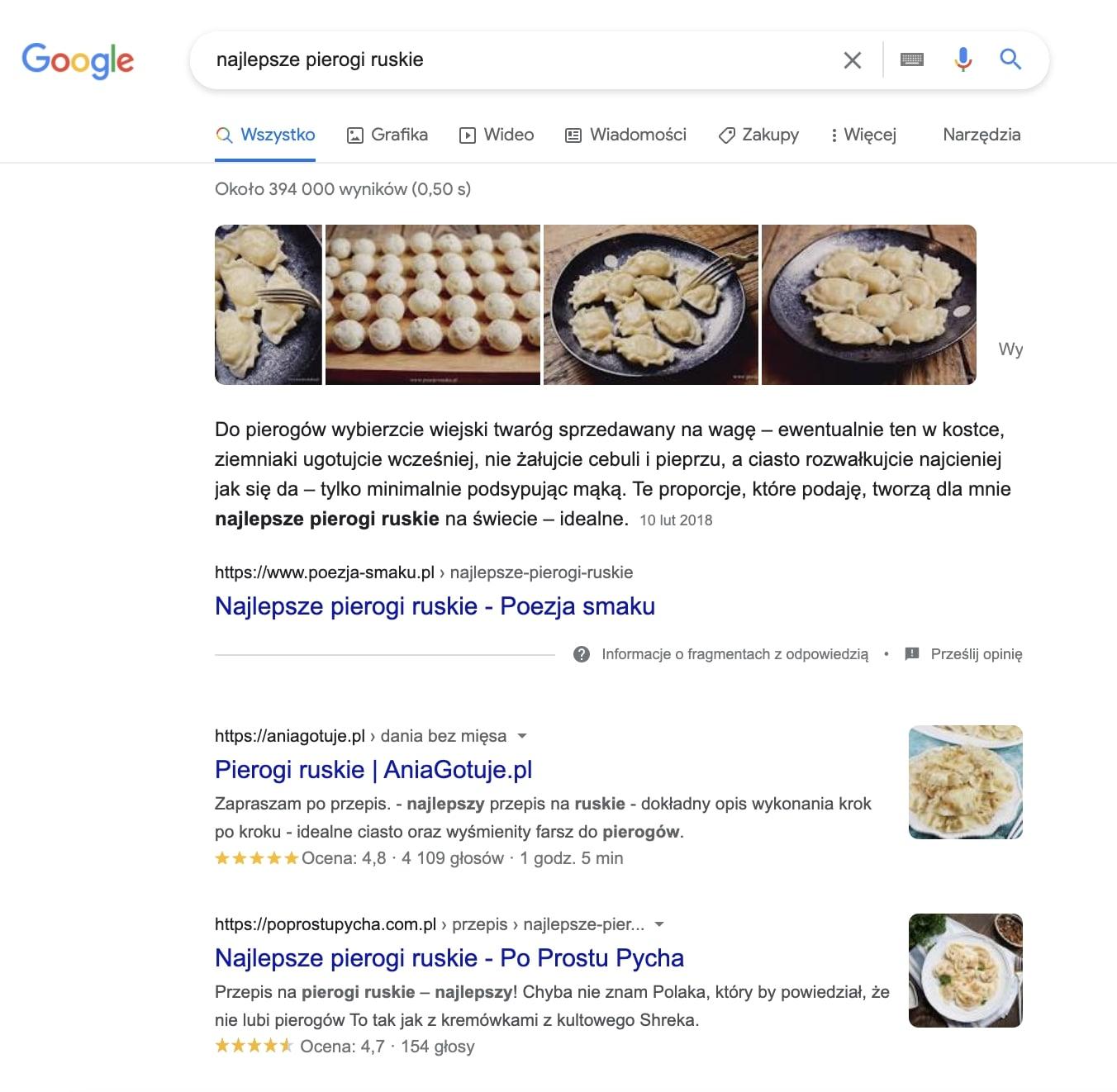 analiza słów kluczowych - wynik wyszukiwania Google