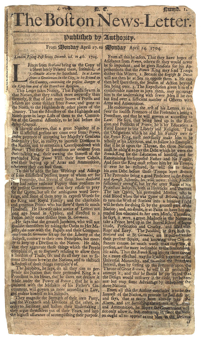 reklama drukowana 1702 rok
