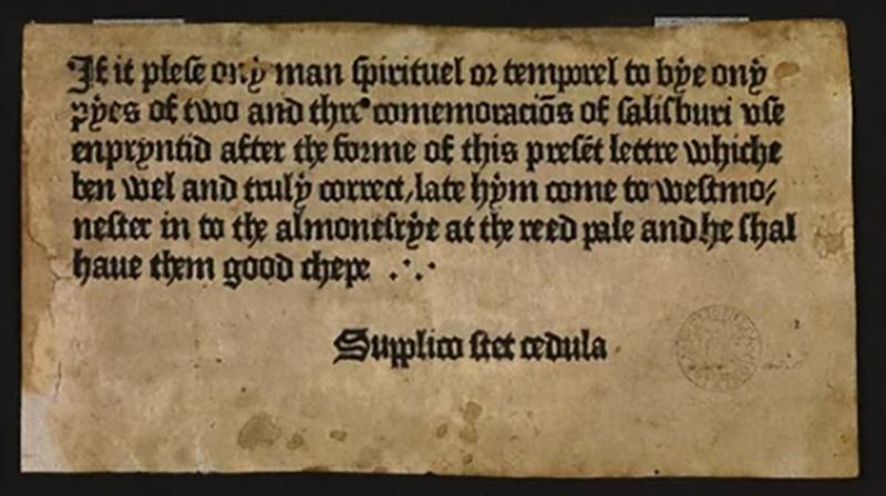 pierwsza drukowana reklama