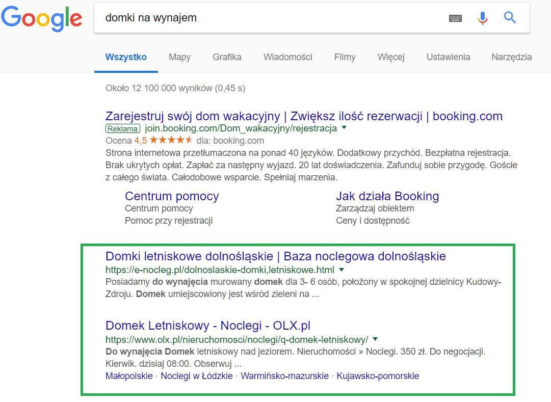 Google wyniki organiczne