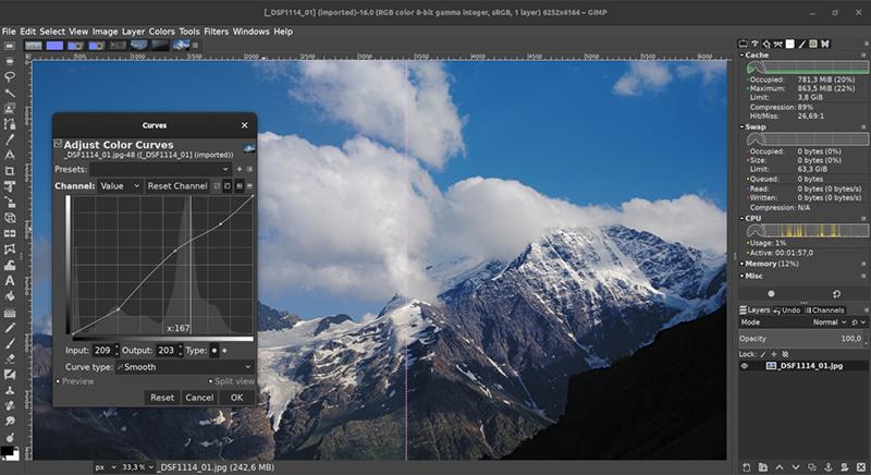 screen z programu GIMP