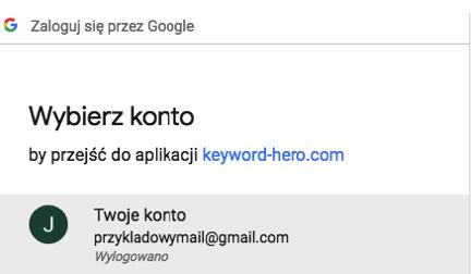Łączenie Keyword Hero z kontem na Google