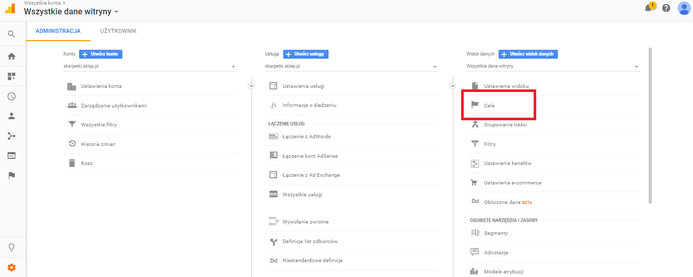 Google Analitics-Administracja-Cele