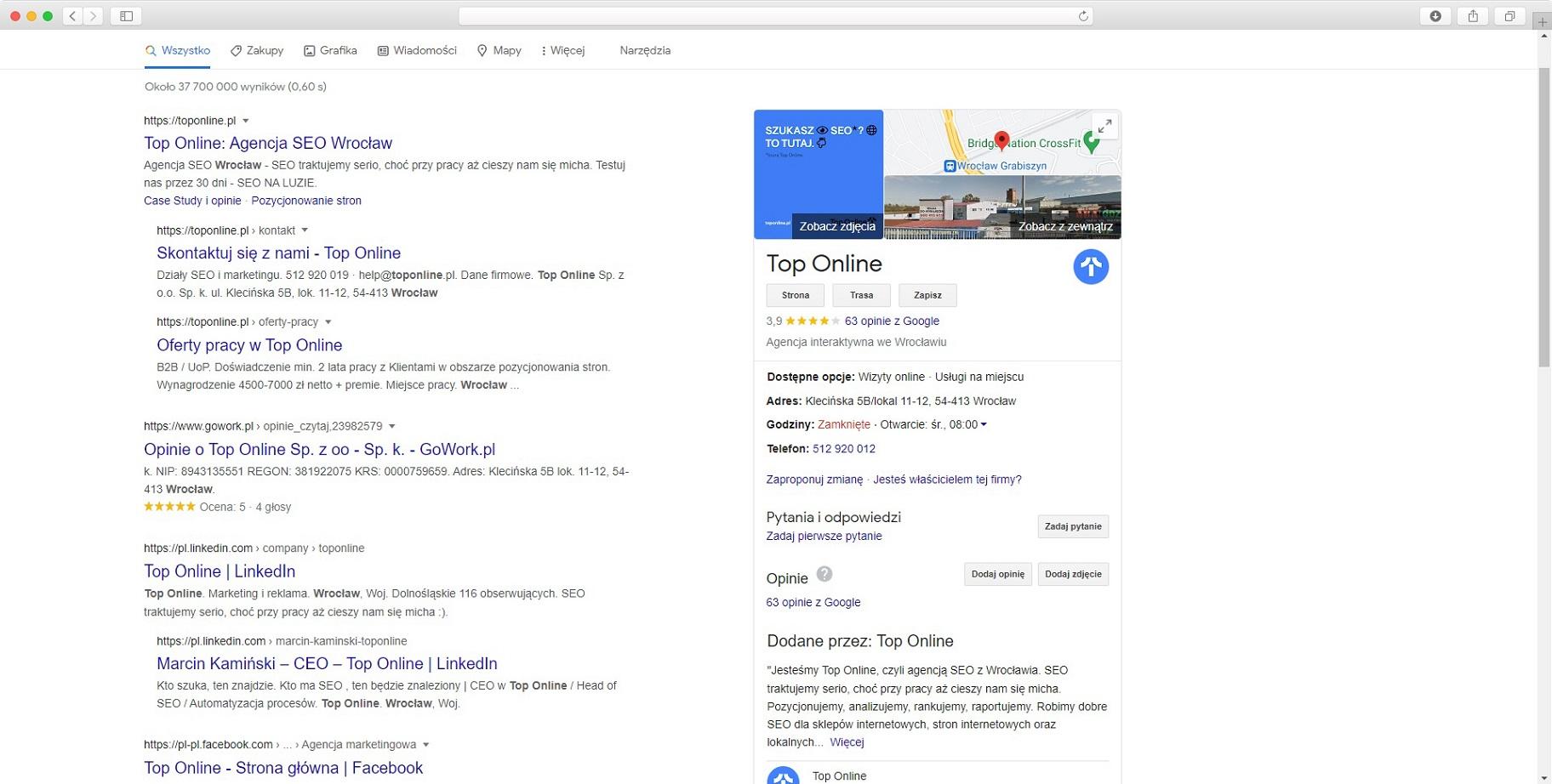 lokalne SEO - Google Moja Firma