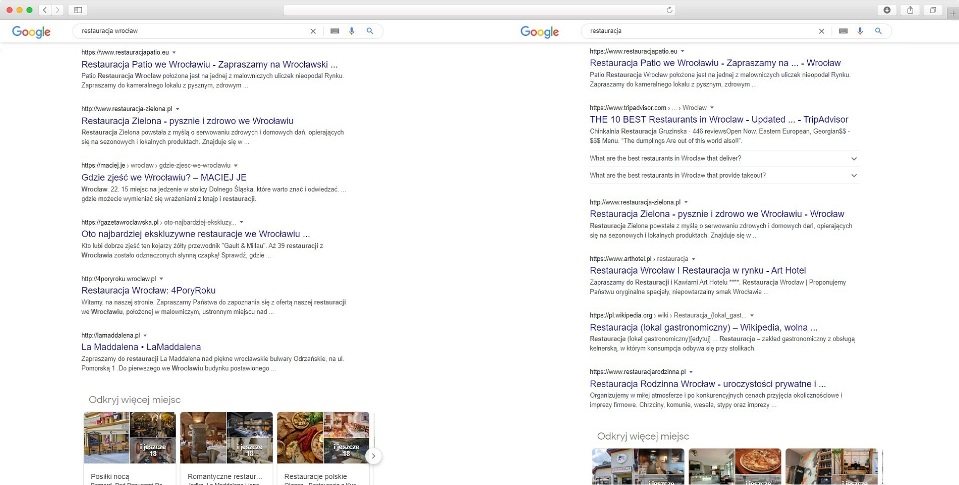 lokalne wyniki wyszukiwania